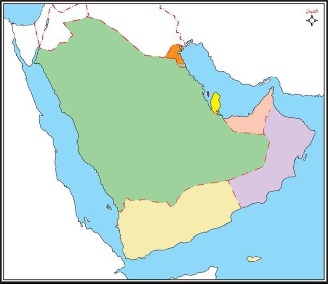 ملونة وصماء خريطة شبه الجزيرة العربية صماء