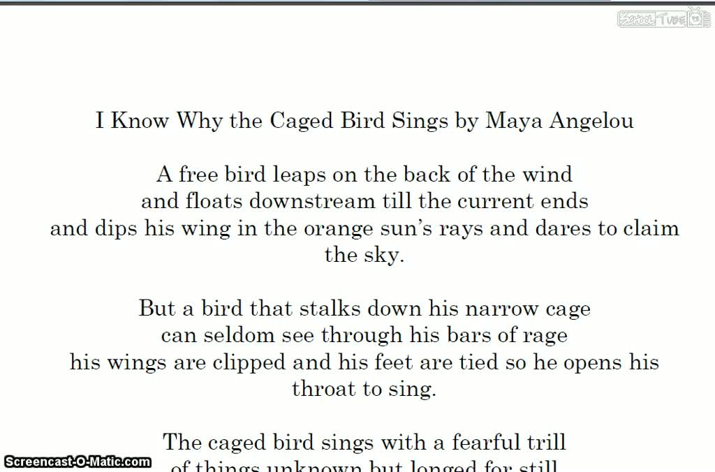 an analysis of the emotions in i know why the caged bird sings by maya angelou Po box 658, clayton, de 19938 wwwprestwickhousecom 8009324593 ™ ™ teaching maya angelou's i know why the caged bird sings.
