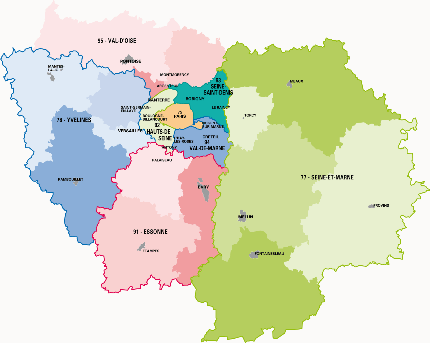 carte paris ile de france La carte des départements de la région Ile de France