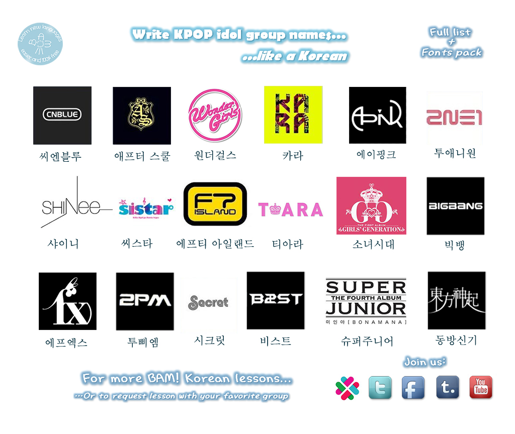 BAM! Korean - Hangul with Kpop idol groups name