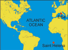 St Helena On World Map.Napoleon Exile To Elba And St Helena