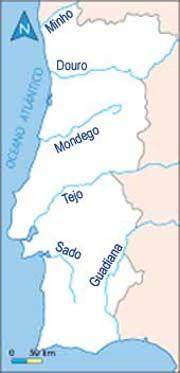 mapa com os principais rios de portugal Principais Rios de Portugal mapa com os principais rios de portugal