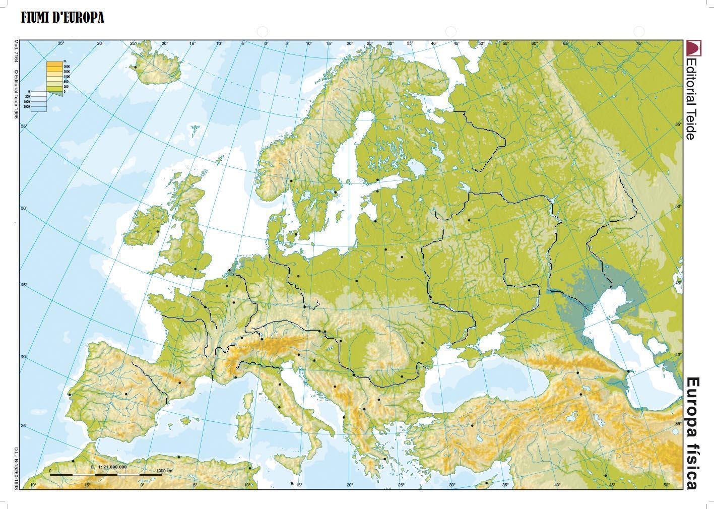 Cartina Geografica Europa Fisica Da Stampare.Europa Fisica Fiumi Mari Stretti Isole