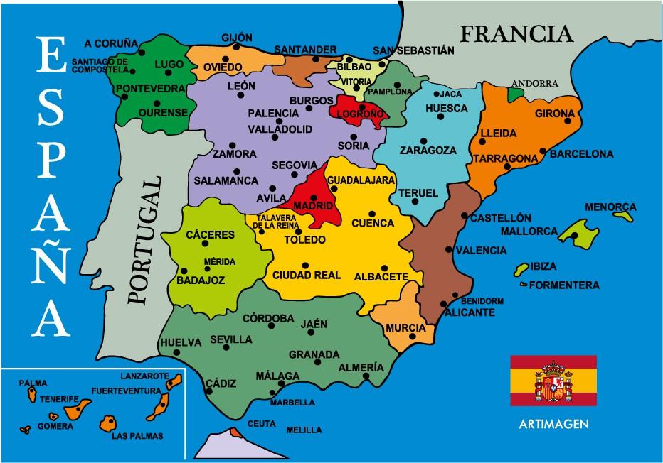 Mapa De Espana Gentilicios