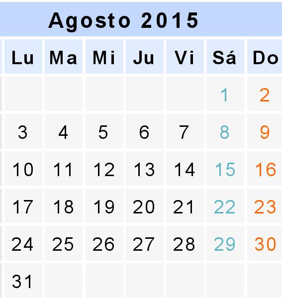 Agosto Calendario.Agosto 2105 Calendario