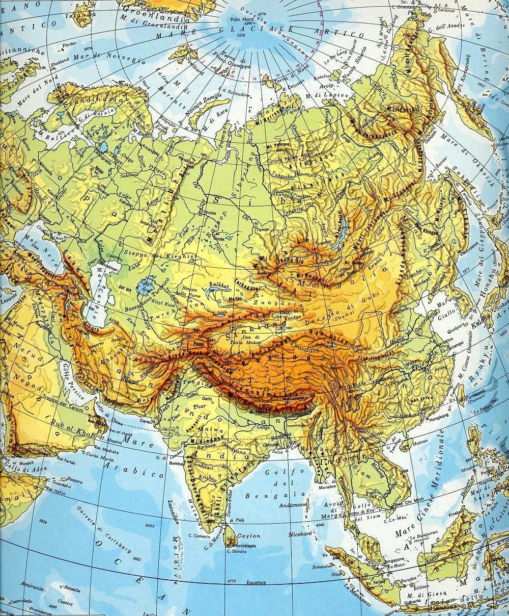 Cartina Geografica Giappone Fisica