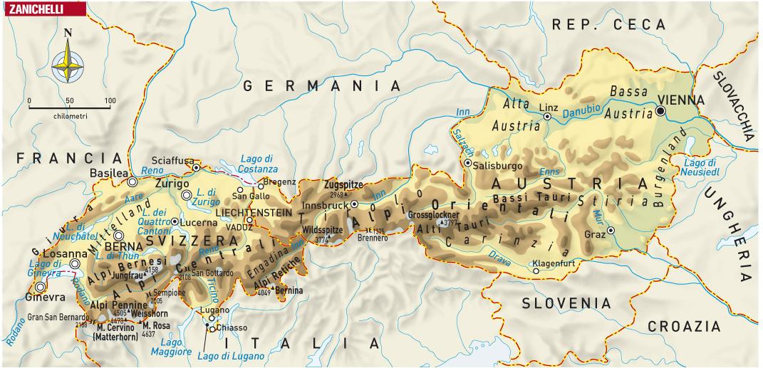 Cartina Geografica Dell Austria.Austria E Svizzera Viaggio Tra Le Alpi