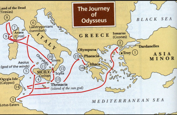 Map Of Odysseus Journey Odysseus Journey Map  Janazia Bowman