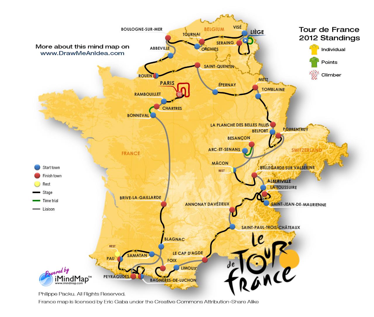 TOUR DE FRANCE MAP Recana Masana