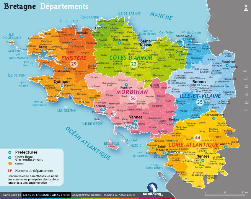 carte de bretagne sud Carte de la Bretagne