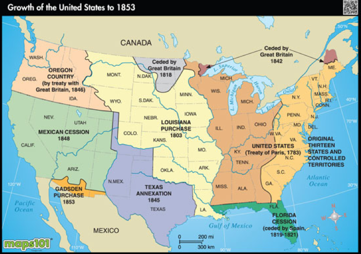 Western Expansion Matthew Olivas Jessica Lepe ThingLink - Us map in 1776