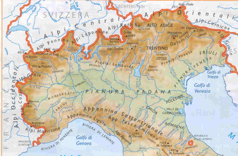 Cartina Geografica Italia Nord Orientale.Italia Settentrionale