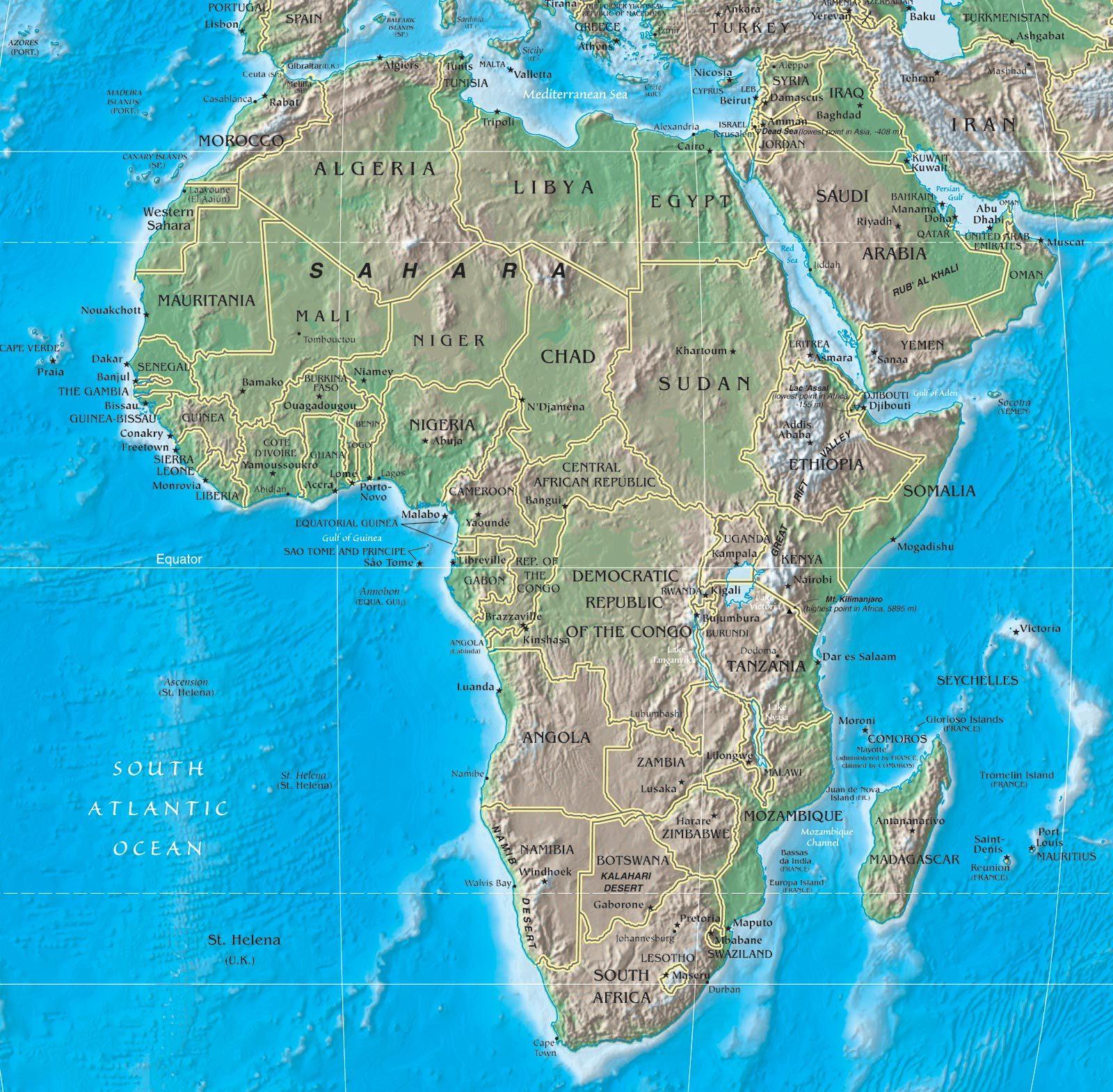 sub saharan africa map with rivers