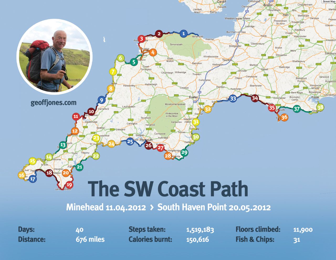 Southwest Coast Path Map The South west Coast Path Archives   Geoff Jones Southwest Coast Path Map