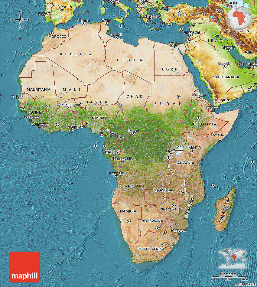 The Equator Runs Through The Middle Of Africa Africa - Map through satellite