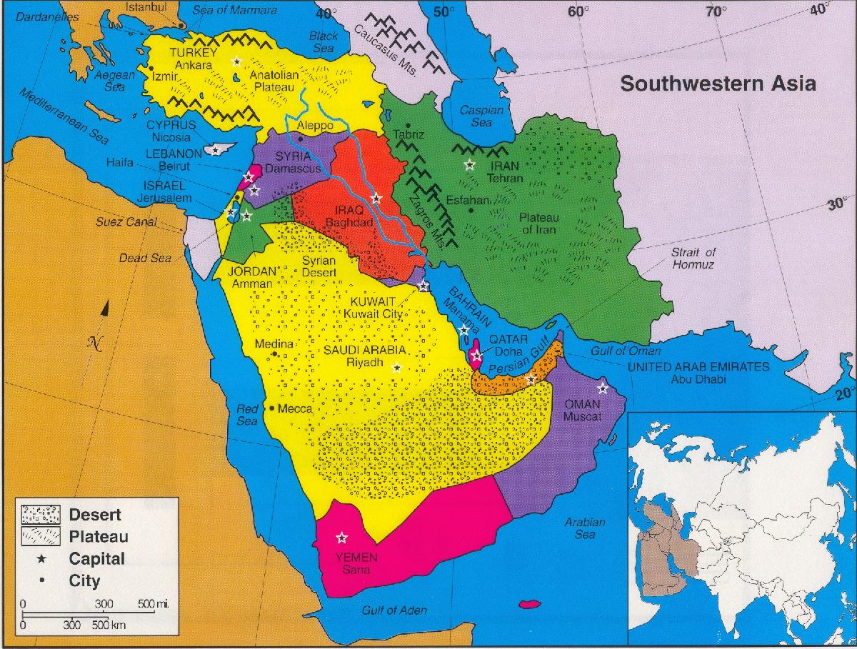 Southwestern Asia Map