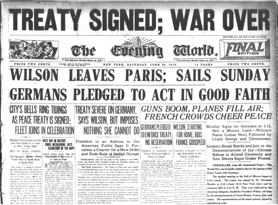 the failure of the treat of versailles after world war i