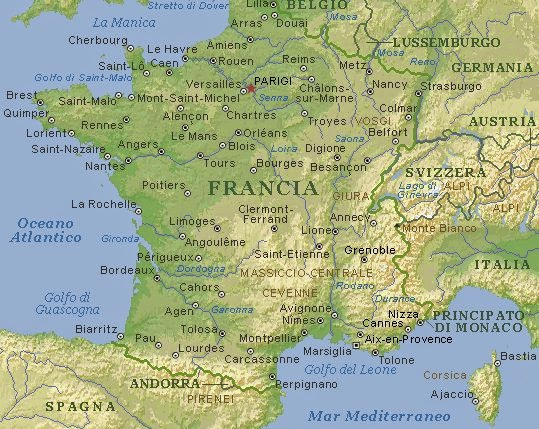 Cartina Fisica Francia Montagne.La Francia