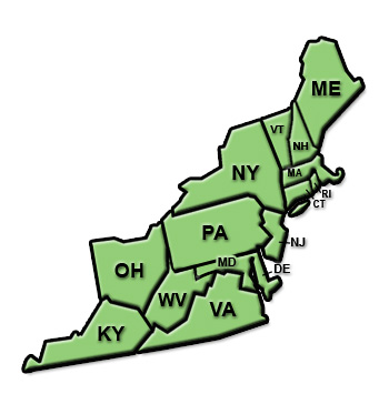 What states are in the Northeast region of the United Sta...