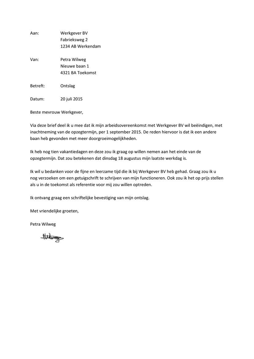 ontslagbrief Ontslagbrief