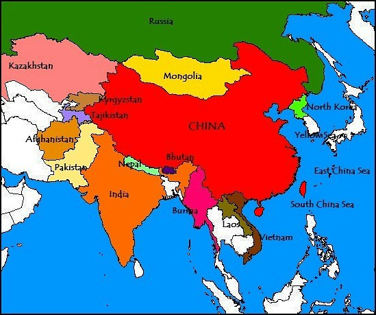 Map Of China And Surrounding Countries China and Bordering Countries Map