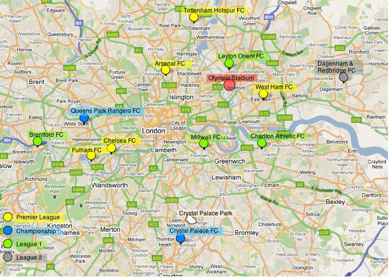 Map Of London Soccer Teams.Teams Of London