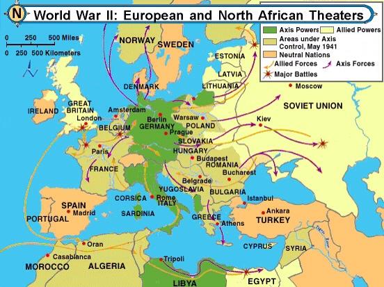 ww2 map of europe battles Map of European Battles in World War II