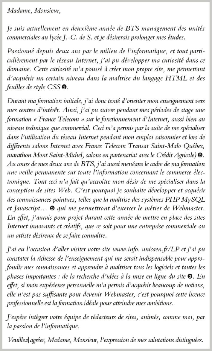 Candidature En Licence Pro Webmestre Lettre 2