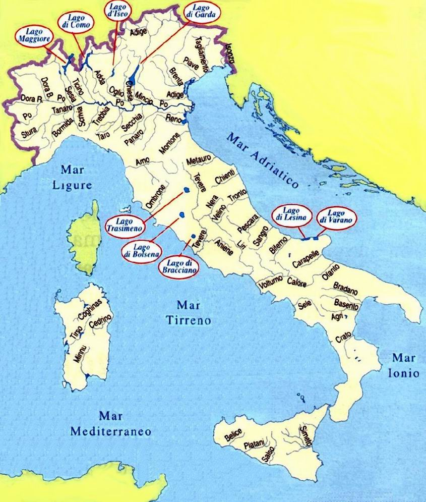 Cartina Italia Muta Fiumi.I Fiumi In Italia