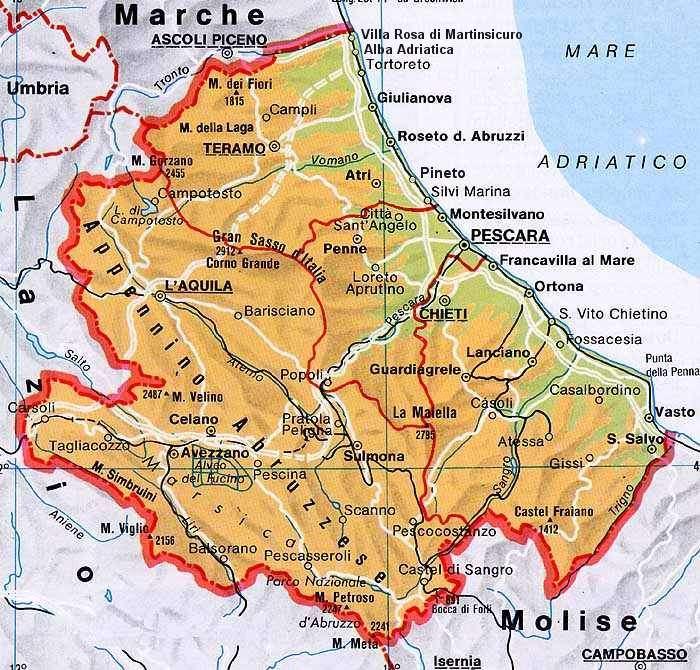 Cartina Dell Abruzzo Fisica.I Castelli Dell Abruzzo