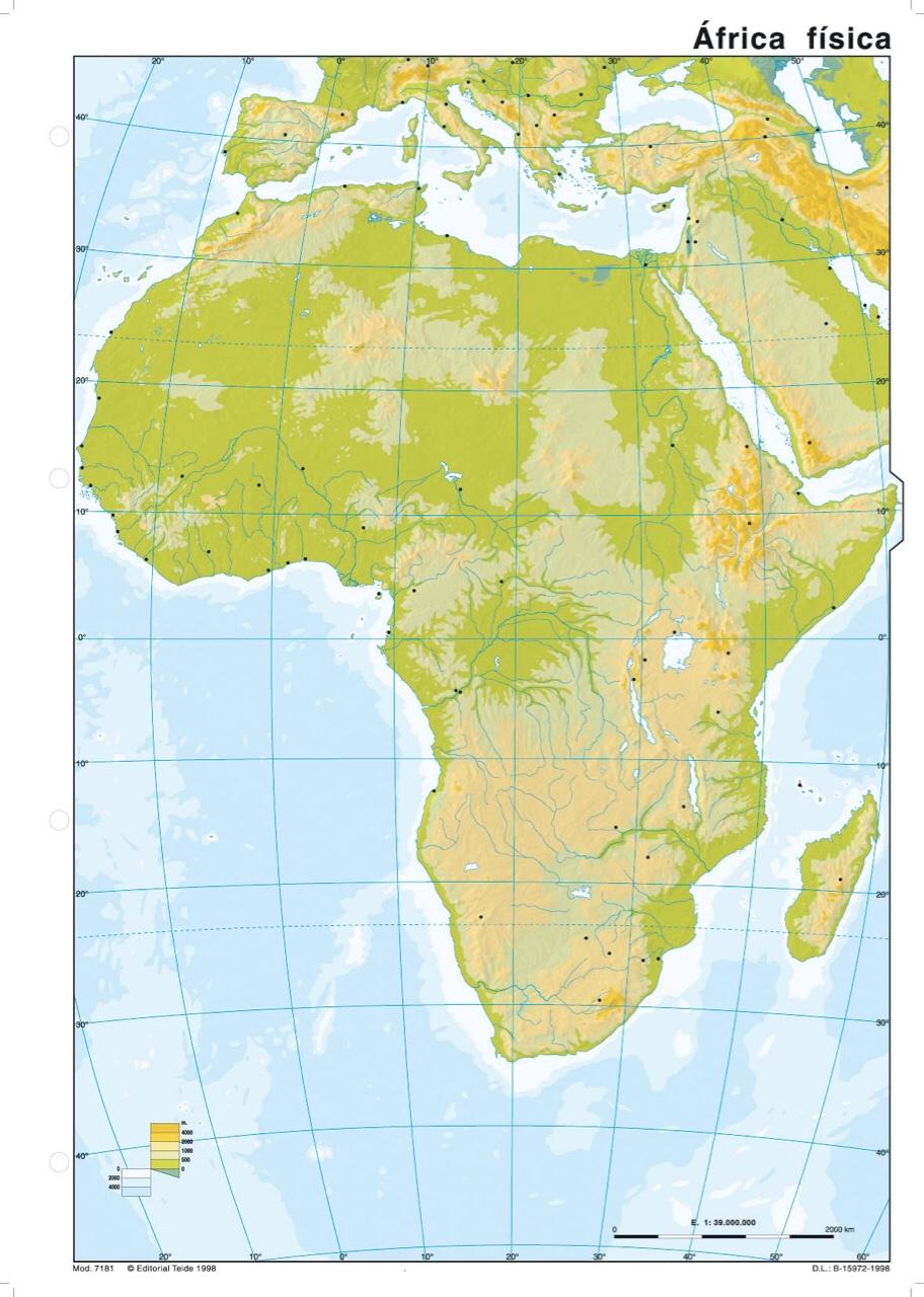 Relieve De Africa Mapa.Mapa Relieve Africano