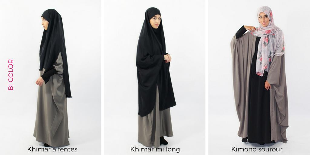 Hijab Jilbab Avec Des Fentes Khimar Mi Long En Tissu Ni