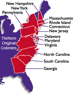 Thirteen Original Colonies ThingLink - Original thirteen colonies map