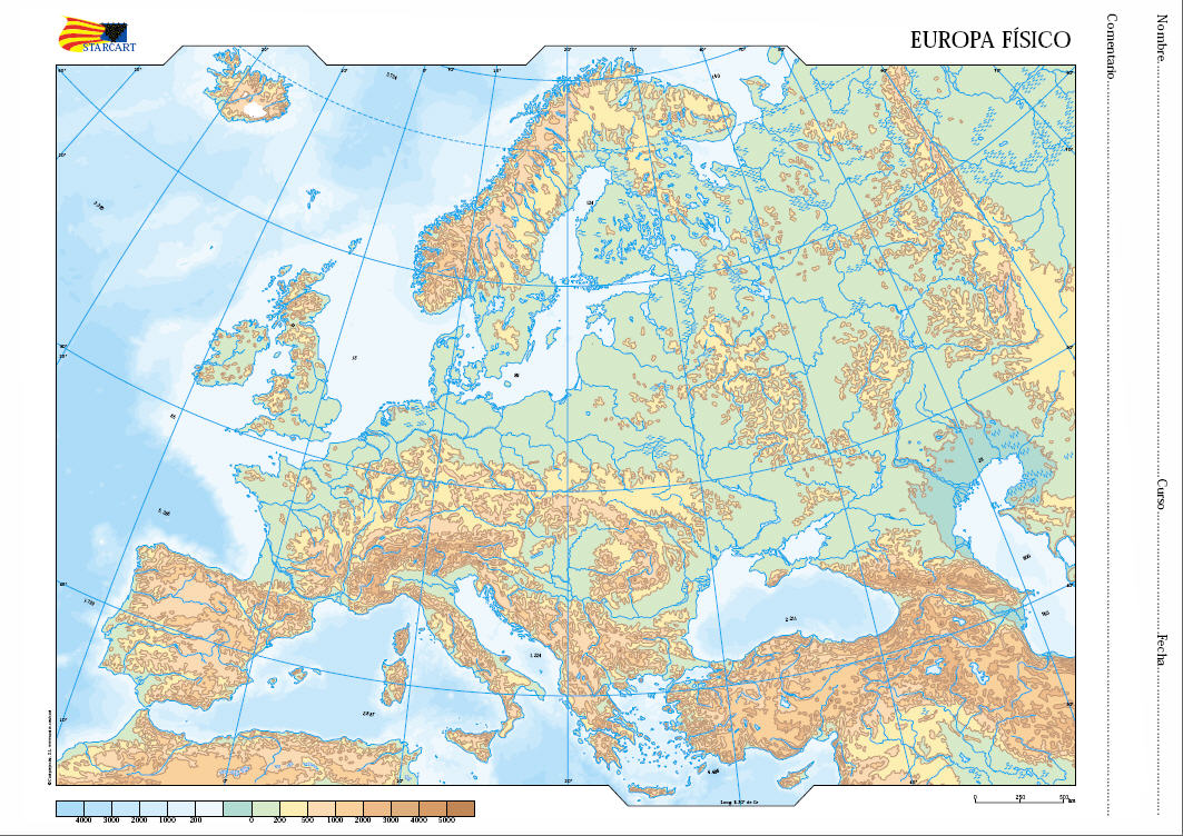 Mapa Mudo Europa Físico.Montes Escandinavos Celia Alpes Celia Montes Urales Cel