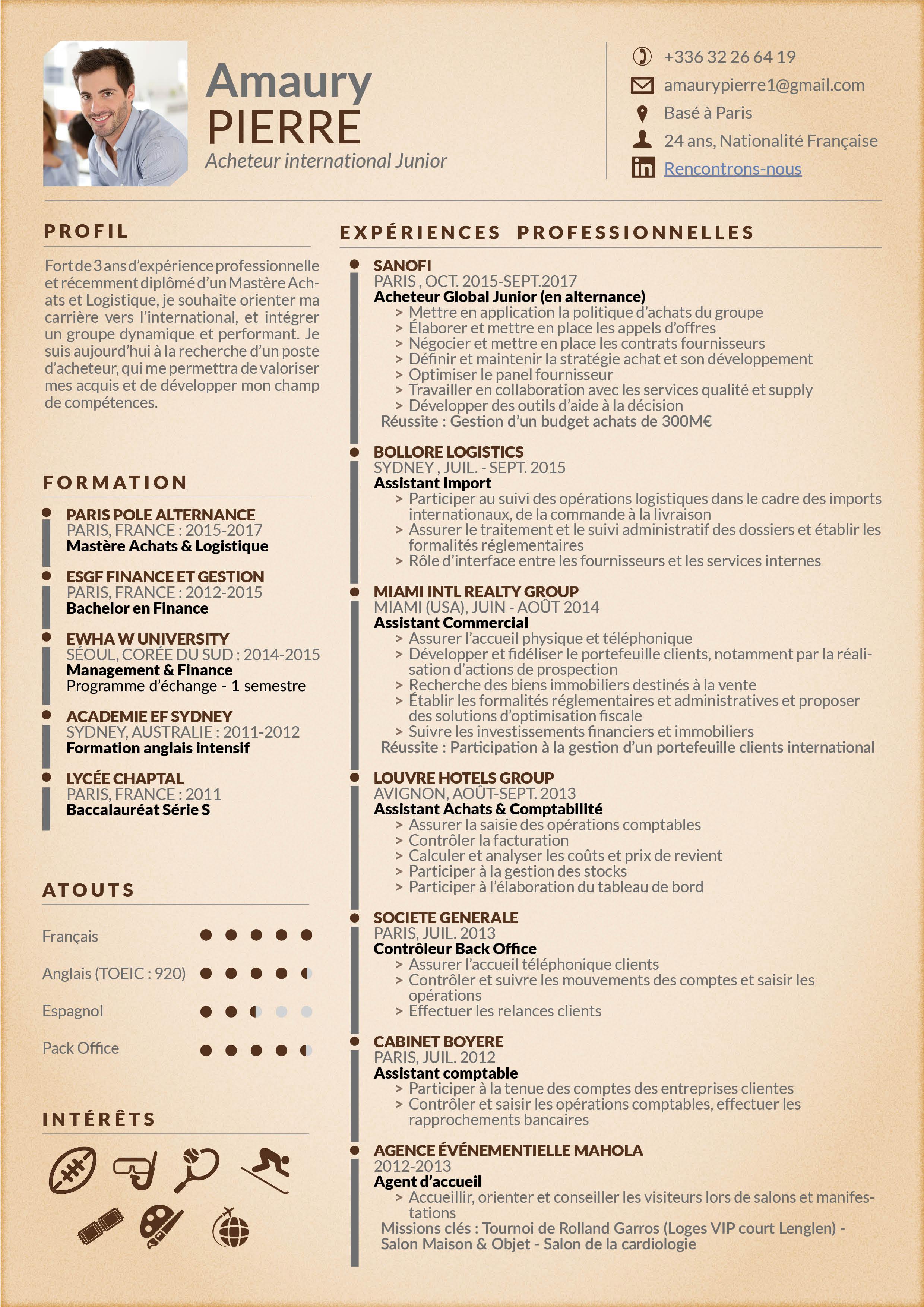 Cv Achats Mycvfactory Pour L Etudiant