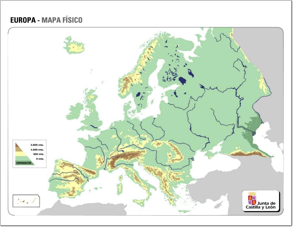 Mapa Fisic De Europa.Mapa De Europa Con Rios