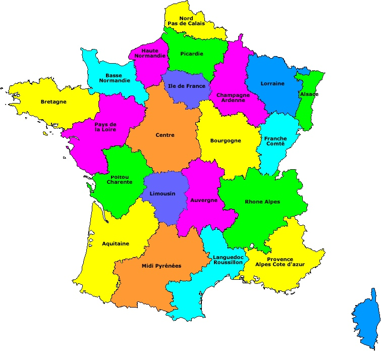 Carte De Region De La France | popkensburg