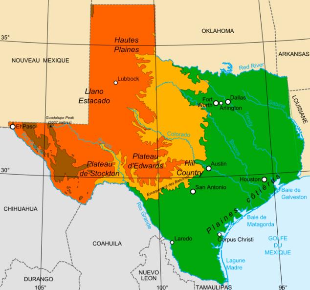 Landform Map Of Texas.Texas Landforms