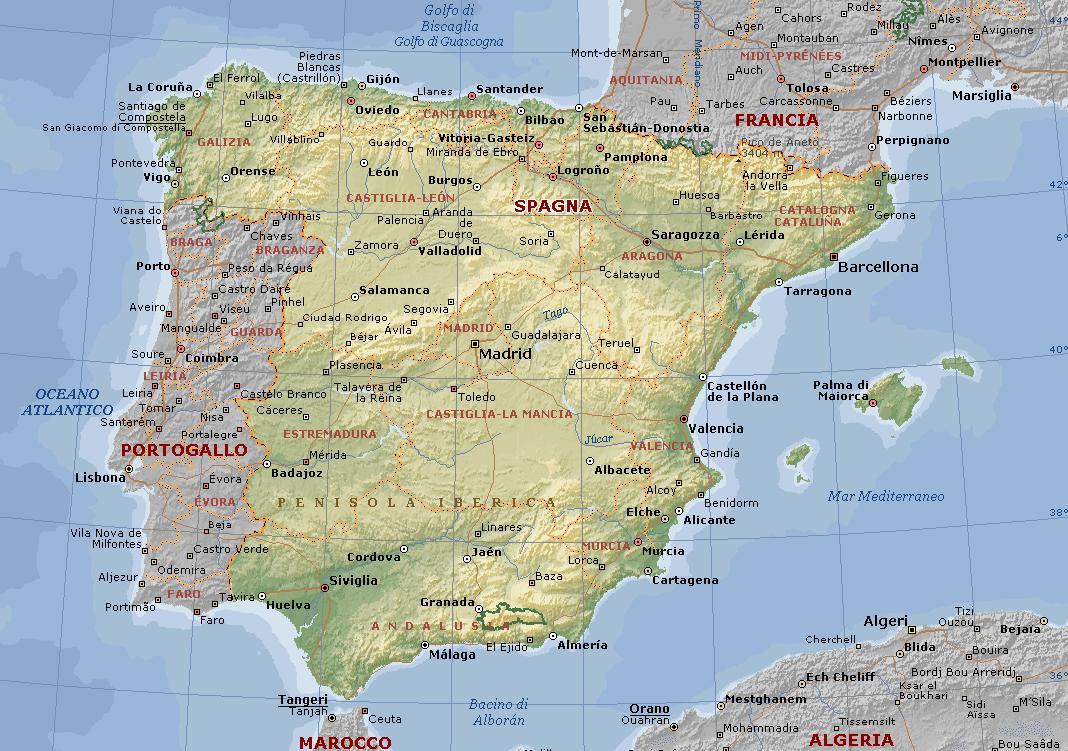 La Spagna Cartina.La Spagna
