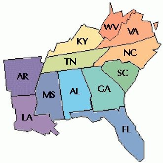 Southeast region states,abbreviations,and capitals.By:GavinG on