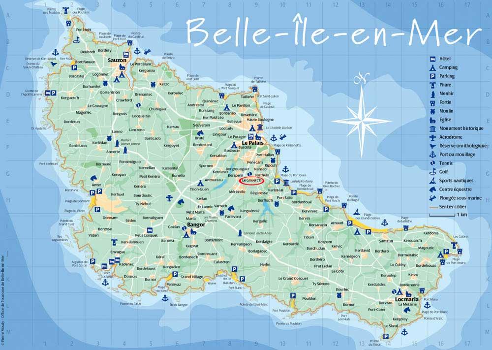 carte de belle ile Domaine de bruté, poème de la chasse a l'enfant , plage d